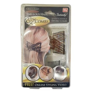 2 PACKS x EZ COMBS WHITE and BROWN HAIRSTYLE GRIPS hair gripper